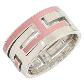 Hermes Sterling Silver 925 Arcane Moveable H Pink Ring Size 6.5