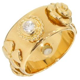 Chanel 18K Yellow Gold & 2P Diamond Camellia Ring Size 4.5