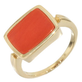 Mikimoto 14K Yellow Gold Coral Band Ring Size 4.25