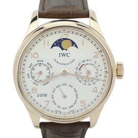 IWC Portuguese IW502306 18K Rose Gold Perpetual Calendar 7 Day Single Moonphase 44mm Mens Watch