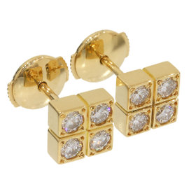 Cartier 18K Yellow Gold Diamonds Paillette Design Earrings