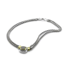 David Yurman Sterling Silver and 14K Yellow Gold Albion Pave Diamond Station Necklace