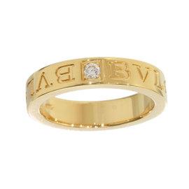 Bulgari 18K Yellow Gold Double Logo Diamond Ring Size 5