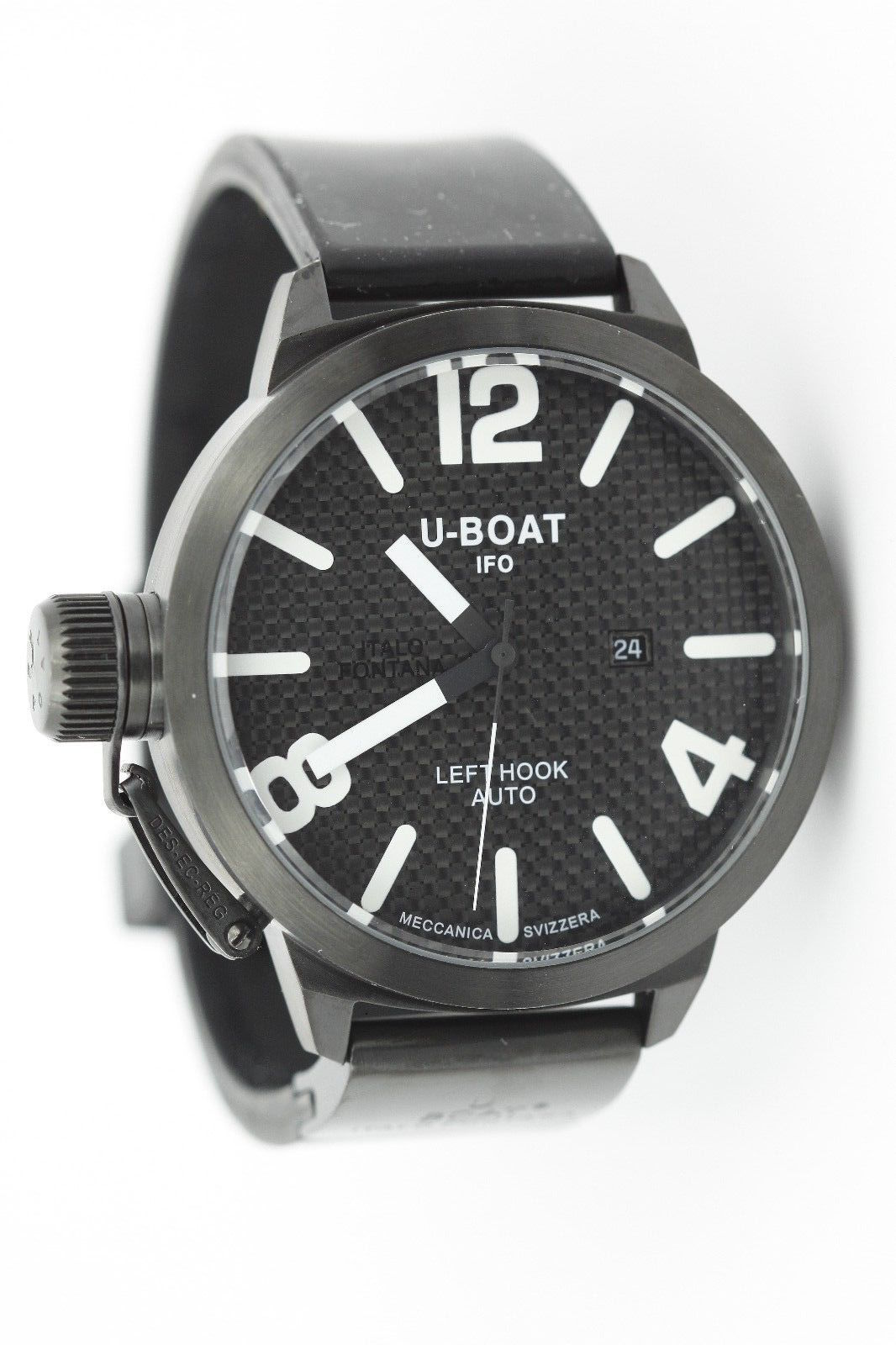 "Image of ""U-Boat Black PVD Left Hook 470 Stainless Steel & Rubber Carbon Fiber"""