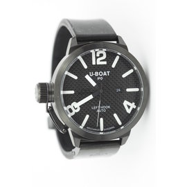 U-Boat Black PVD Left Hook 470 Stainless Steel & Rubber Carbon Fiber Automatic 53mm Mens Watch