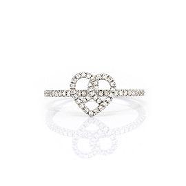 Hidalgo Pave Diamond 18K White Gold Heart Ring Size 6.25