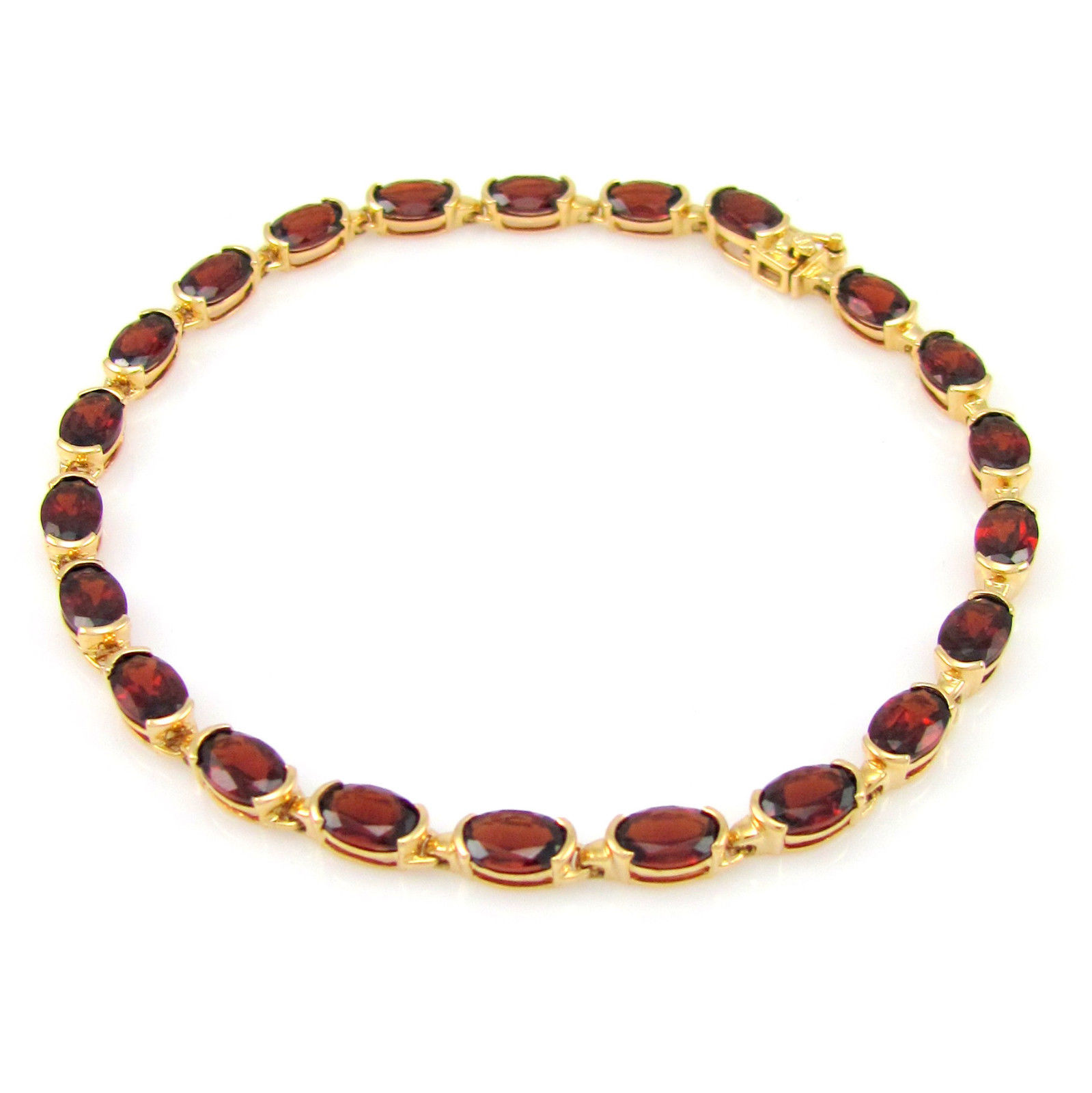 """""14k Yellow Gold & Oval Garnet Tennis Link Bracelet"""""" 1178825"