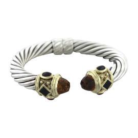 David Yurman 925 Sterling Silver 14K Yellow Gold Citrine Cable Renaissance Bracelet