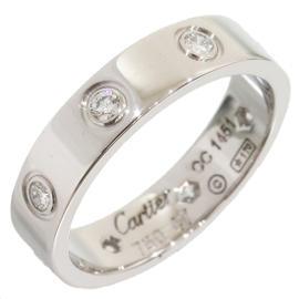 Cartier Mini Love 18K White Gold Diamonds Ring Size 4