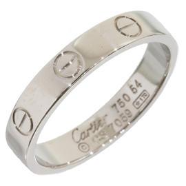Cartier Mini Love 18K White Gold Ring Size 7