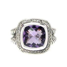 David Yurman Sterling Silver Albion Amethyst Diamond Ring Size 8.5