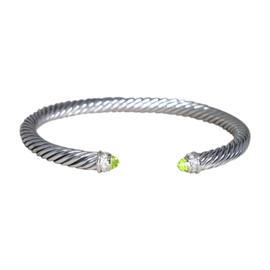 David Yurman 925 Sterling Silver Peridot Diamond Bracelet