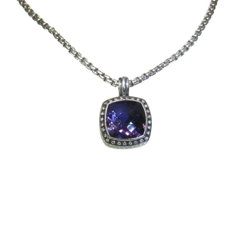 """Image of """"David Yurman .925 Sterling Silver Moonlight Amethyst Diamond Enhancer"""""""