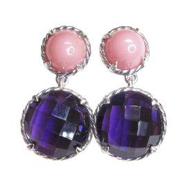 David Yurman 925 Sterling Silver Chatelaine Double Drop Guava & Amethyst Dangle Earrings