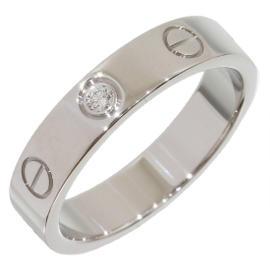 Cartier 18K White Gold 1P Diamond Mini Love Ring Size 5.25