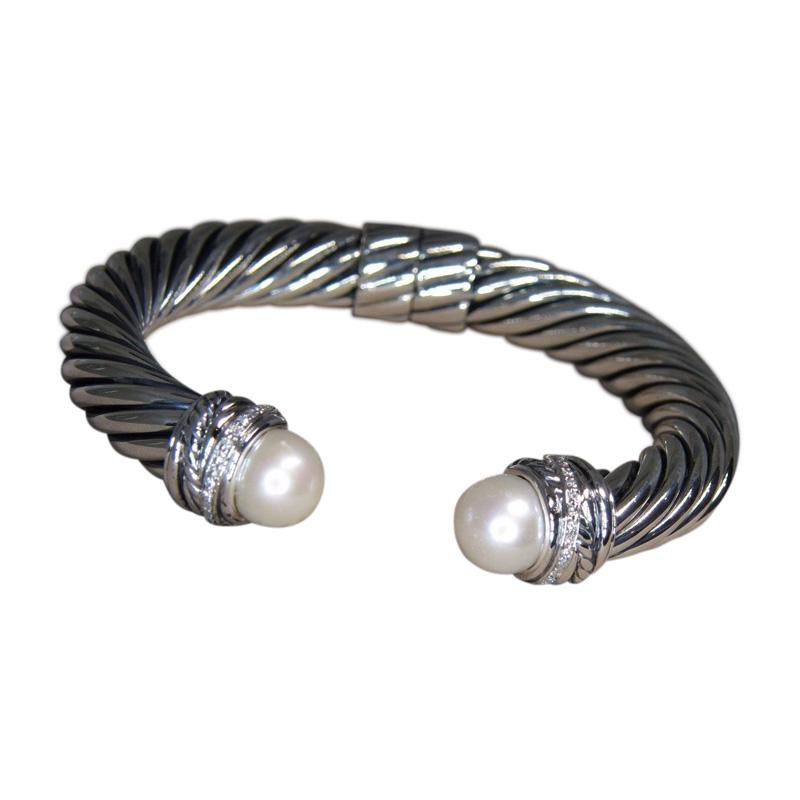 """""David Yurman 925 Sterling Silver Crossover Pearl Diamond Cuff Bracelet"""""" 1286730"