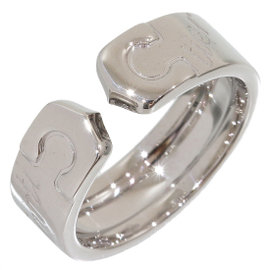 Cartier 18K White Gold Double C Signature Logo Ring Size 5.25