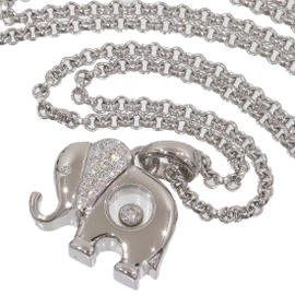 Chopard 18K White Gold Happy Diamond Elephant Pendant Necklace