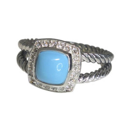 David Yurman 925 Sterling Silver Petite Albion Turquoise Pave Diamond Ring Size 7