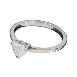Tiffany & Co. Pt950 Platinum 0.49ct. Heart Diamond Ring Size 5.75