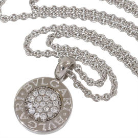 Bulgari 18K White Gold BB Pave Diamonds Pendant Necklace