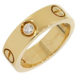 Cartier 18K Yellow Gold Half Diamonds Love Ring Size 5.25