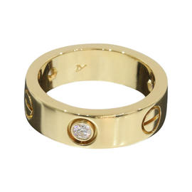 Cartier 18K Yellow Gold Half Diamonds Love Ring Size 5.5
