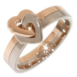 Cartier 18K Rose & White Gold Double Heart Band Ring Size 3.75
