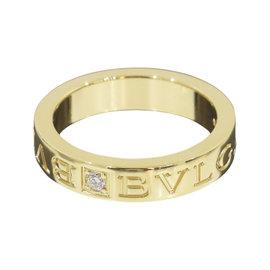 Bulgari 18K Yellow Gold Double Logo Diamond Ring Size 5.5