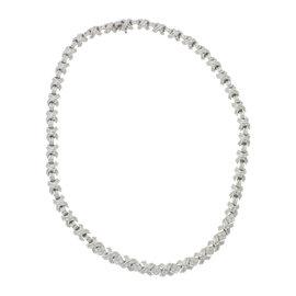 Tiffany & Co. 18K White Gold 1.44ctw Diamond X Tennis Necklace