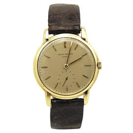 Patek Philippe 18K Yellow Gold & Leather Manual Vintage 32.5mm Mens Watch