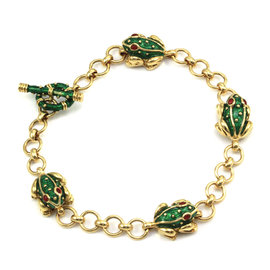 Hidalgo 18K Yellow Gold Red & Green Enamel Frog Chain Link Bracelet