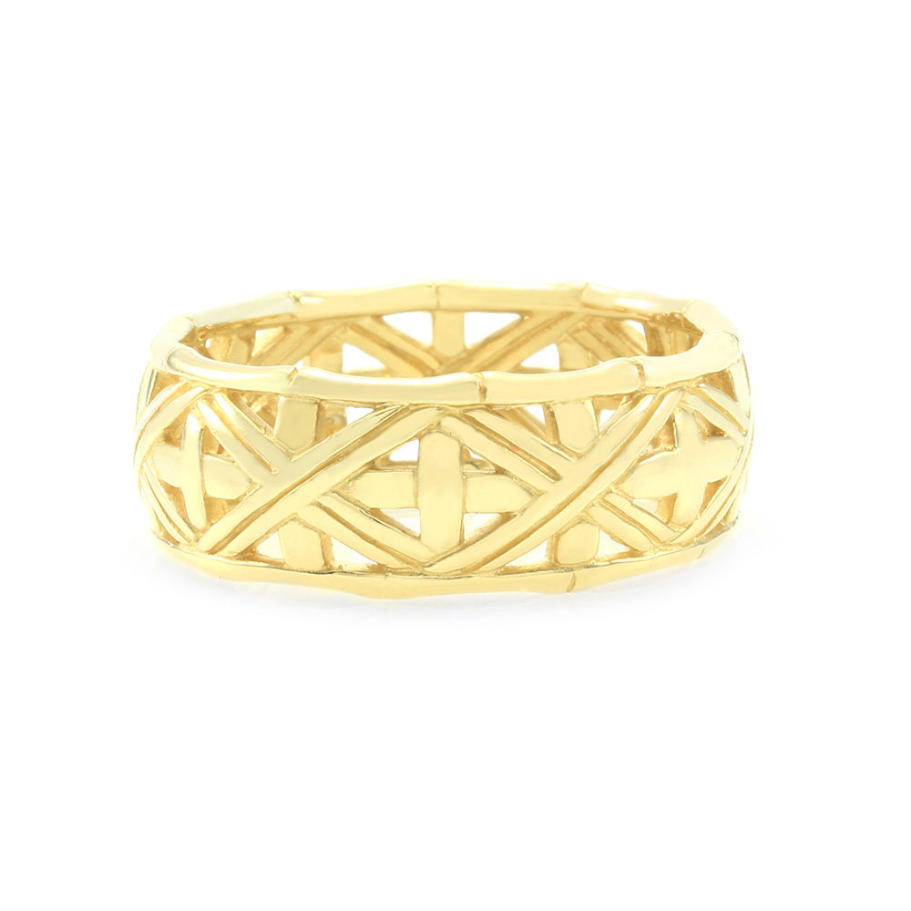"Image of ""John Hardy 18K Yellow Gold Bamboo Eternity Band Ring Size 10"""
