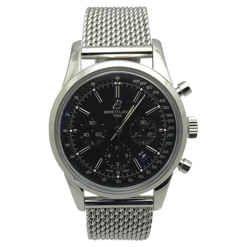 """Image of """"Breitling Transocean Ab015212 Stainless Steel & Black Dial 43mm Mens"""""""