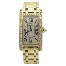 Cartier Tank Americaine WB7072K2 18K Yellow Gold & Diamonds 19mm Womens Watch