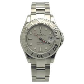 Rolex Yacht Master 168622 Stainless Steel & Platinum Dial 35mm Womens Watch