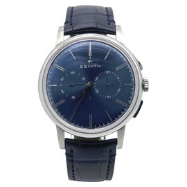 Zenith Elite 03.2272.4069/51.C700 Stainless Steel / Leather with Blue Dial 42mm Mens Watch