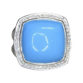 David Yurman Albion Classic Sterling Silver with Turquoise and .48ct Diamond Ring Size 6.5