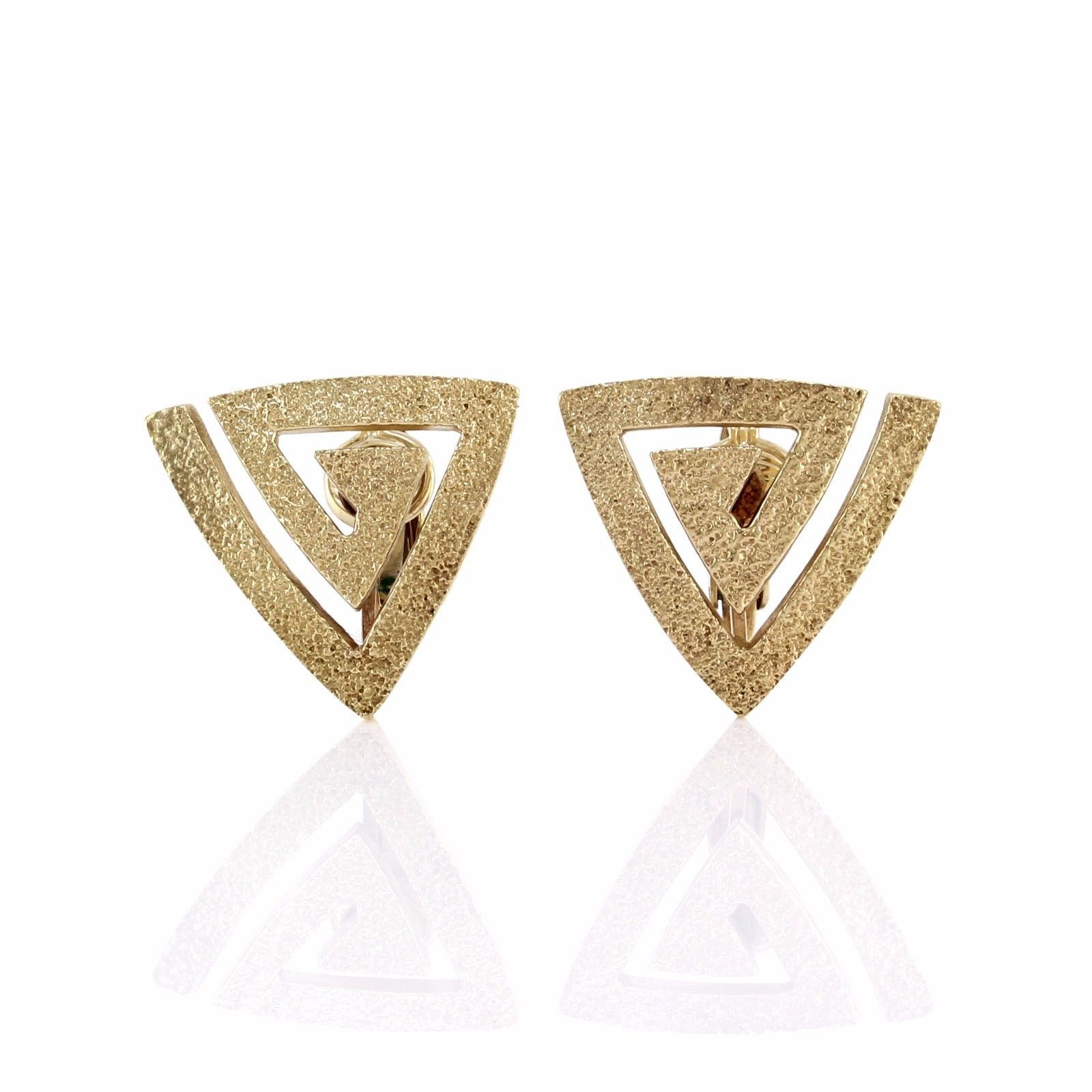 "Image of ""Hammerman Brothers 14k Yellow Gold Modernist Triangle Clip-On Earrings"""
