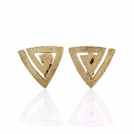 Hammerman Brothers 14k Yellow Gold Modernist Triangle Clip-On Earrings