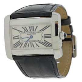 Cartier Tank Divan 2600 Stainless Steel & Silver Dial 23mm Womens Watch