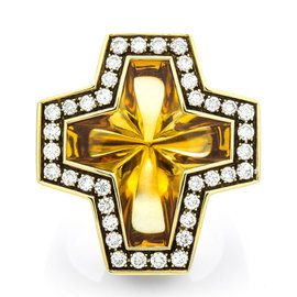 Stephen Webster 18k Yellow Gold Citrine Cross & Pave 0.76ct. Diamond Ring Size 6.5