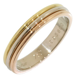 Cartier 18K Pink & White & Yellow Gold Trinity Wedding Band Ring Size 8
