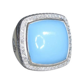 David Yurman Albion Sterling Silver with Turquoise and Diamond Ring Size 5.5