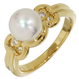 Mikimoto 18K Yellow Gold Pearl Band Ring Size 6