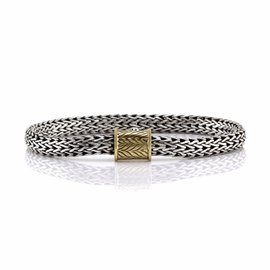 John Hardy 925 Sterling Silver and 18K Yellow Gold Classic Bracelet