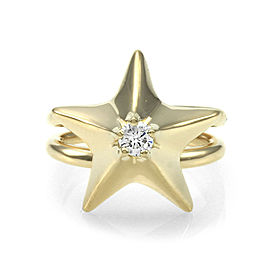 Van Cleef & Arpels 18K Yellow Gold Diamond Solitaire Star Ring Size 2