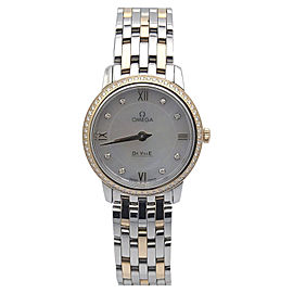 Omega Deville 4242527605500 Stainless Steel & Rose Gold Quartz Diamonds Bezel 27.4mm Womens Watch