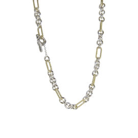 David Yurman Figaro 18K Yellow Gold and 925 Sterling Silver Toggle Clasp Necklace