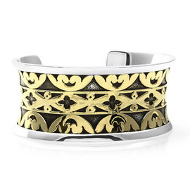 John Hardy Sterling Silver and 18K Yellow Gold Cuff Bracelet